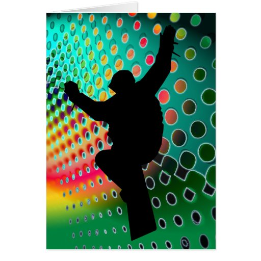 Snowboard in Cosmic Snowstorm Greeting Card