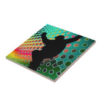 Snowboard in Cosmic Snowstorm Tile