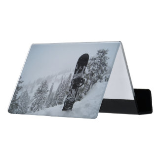 Snowboard In Snow Desk Business Card Holder