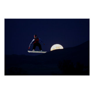 Snowboard Over the Full Moon Poster