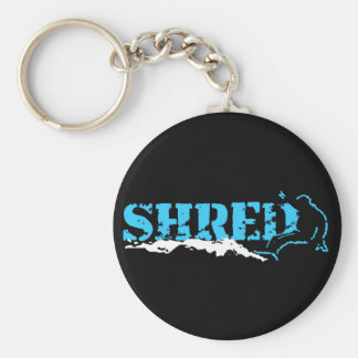 snowboard. shred. basic round button key ring