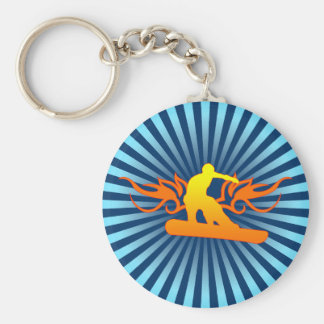 snowboard. tribal. basic round button key ring