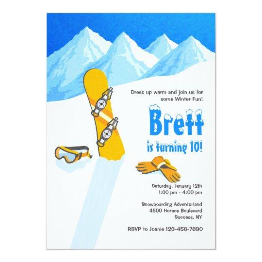 Snowboard Winter Fun Invitation