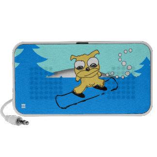 Snowboard Yellow Dog Doodle Laptop Speakers