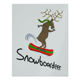 Snowboardeer 11 Cm X 14 Cm Invitation Card