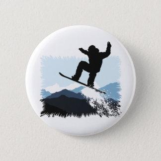 Snowboarder Action Jump 6 Cm Round Badge