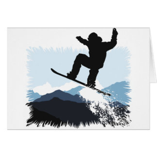 Snowboarder Action Jump Card