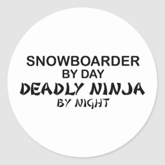 Snowboarder Deadly Ninja by Night Classic Round Sticker