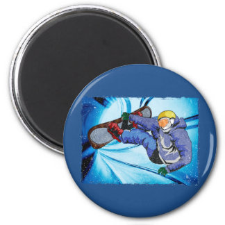 Snowboarder in Edgy Snowstorm Fridge Magnets