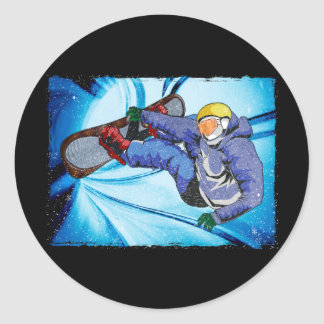 Snowboarder in Edgy Snowstorm Round Stickers