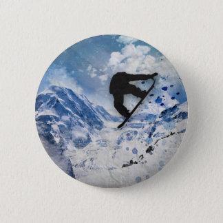 Snowboarder In Flight 6 Cm Round Badge