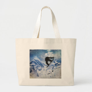 Snowboarder In Flight Large Tote Bag