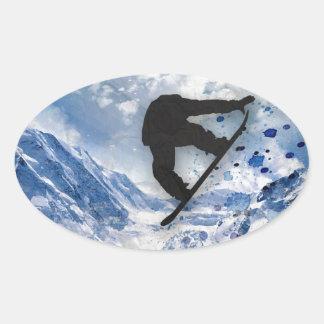 Snowboarder In Flight Oval Sticker