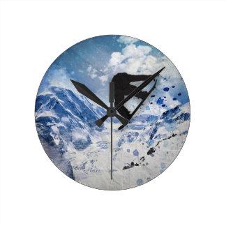Snowboarder In Flight Round Clock