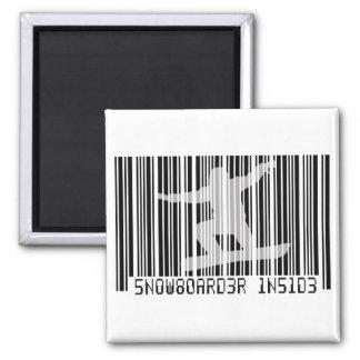 SNOWBOARDER INSIDE Barcode Magnet