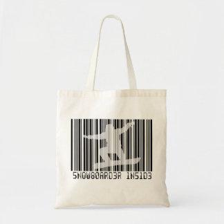 SNOWBOARDER INSIDE Barcode Tote Bag