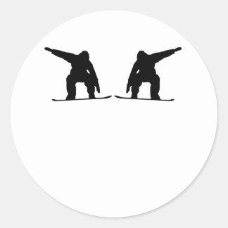 Snowboarder Mirror Image Round Sticker