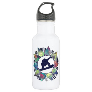 Snowboarder Mountain Flower 532 Ml Water Bottle
