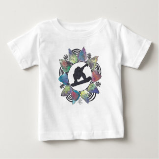 Snowboarder Mountain Flower Baby T-Shirt