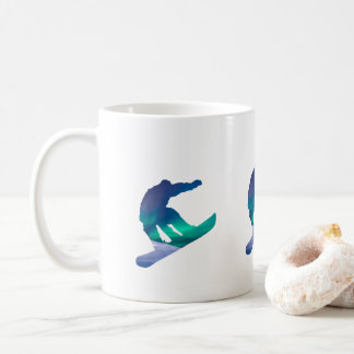 Snowboarder Northern Lights Silhouette Coffee Mug
