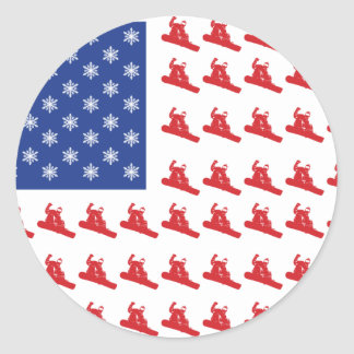 Snowboarder-Patriotic-USA-Flag Classic Round Sticker