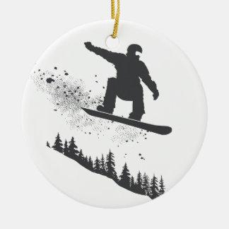 Snowboarder Round Ceramic Decoration