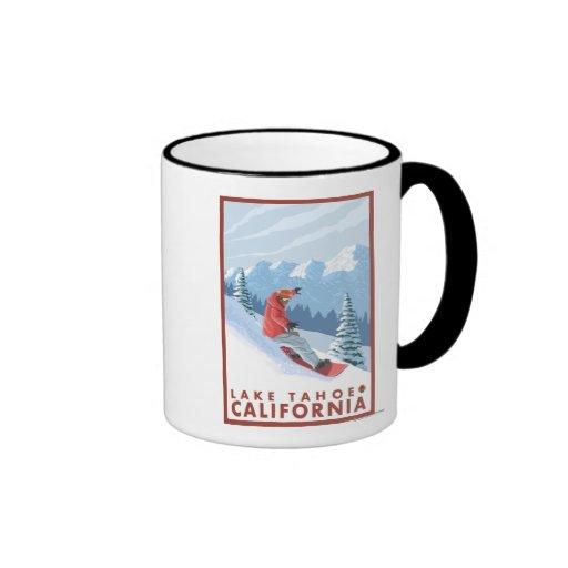 Snowboarder Scene - Lake Tahoe, California Ringer Coffee Mug