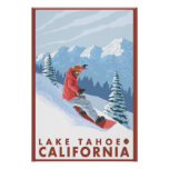 Snowboarder Scene - Lake Tahoe, California Print