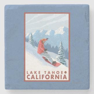 Snowboarder Scene - Lake Tahoe, California Stone Coaster