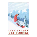Snowboarder Scene - Lake Tahoe, California Stretched Canvas Prints