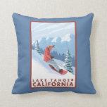 Snowboarder Scene - Lake Tahoe, California Throw Cushions