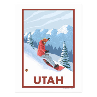 Snowboarder SceneUtah Postcard