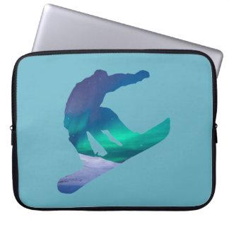 Snowboarder Silhouette Aurora Lights Laptop Sleeve