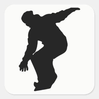 Snowboarder Silhouette Square Sticker