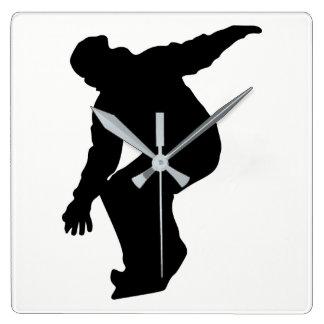 Snowboarder Silhouette Square Wall Clock