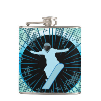 Snowboarder with grunge and damasks hip flask