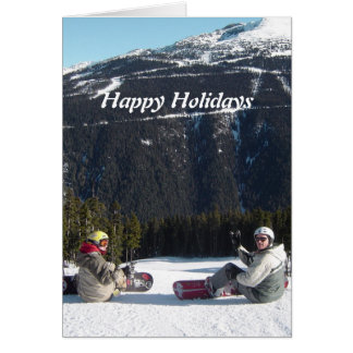Snowboarders with a Scenic Mountain View Card