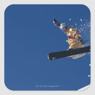Snowboarding 14 square sticker