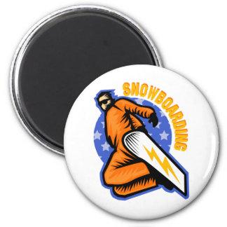 Snowboarding 6 Cm Round Magnet