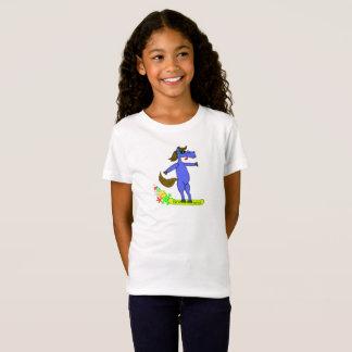 Snowboarding blue horse girls shirt