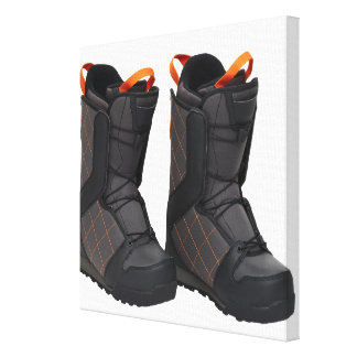 Snowboarding boots on white background, cut out stretched canvas print