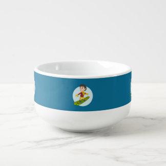 Snowboarding boy cartoon soup mug