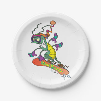 Snowboarding bug paper plate