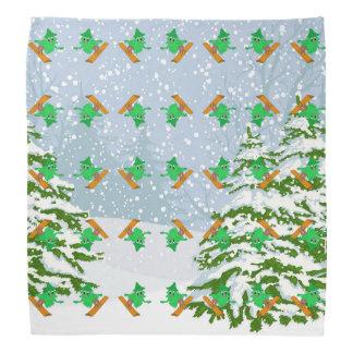 Snowboarding Christmas Tree Bandana
