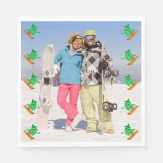 Snowboarding Christmas Tree Disposable Serviette