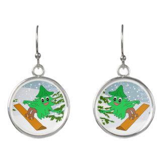 Snowboarding Christmas Tree Earrings