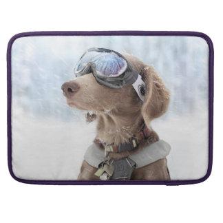 Snowboarding dog -dog winter -dog glasses sleeve for MacBook pro
