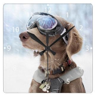 Snowboarding dog -dog winter -dog glasses square wall clock