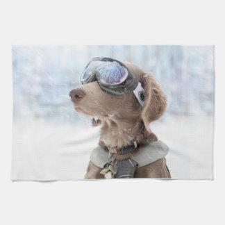 Snowboarding dog -dog winter -dog glasses tea towel