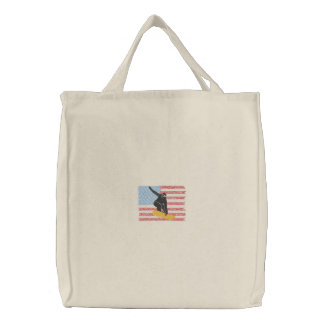 Snowboarding Embroidered Tote Bag